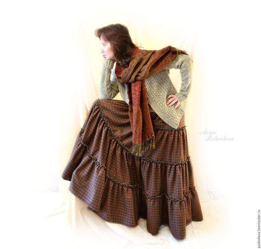 Юбка бохо купить , ярусная, длинная, юбка в пол ,теплая, из шерсти, модная, стильная ,макси, Анна Подивилова, женственная одежда, юбка, одежда для православных ,юбка повседневная ,красивая ,на резинке
