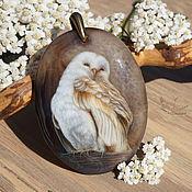 Украшения handmade. Livemaster - original item Pendant with painted stone Owl lacquer miniature brown boho. Handmade.