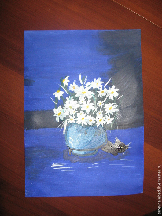 """Картины цветов ручной работы. Ярмарка Мастеров - ручная работа. Купить Картина """"Ромашки и кот"""". Handmade. Тёмно-синий, ромашки"""