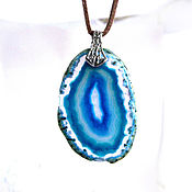Украшения handmade. Livemaster - original item A slice of bright blue wavy agate. Handmade.