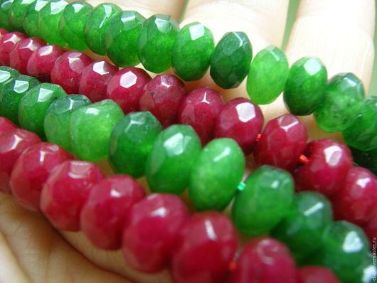 Для украшений ручной работы. Ярмарка Мастеров - ручная работа. Купить Бусина красная, зеленая из камня. 5x8мм. Handmade. Зеленый
