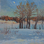 Картины ручной работы. Ярмарка Мастеров - ручная работа Зима, заход солнца. Handmade.