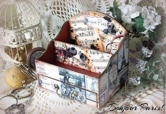 Органайзер `Bonjour Paris!` - удобная и стильная вещица с модным принтом, для настоящей ценительницы домашней красоты и уюта... Сделано по заказу.