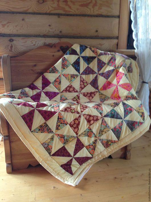 """Текстиль, ковры ручной работы. Ярмарка Мастеров - ручная работа. Купить лоскутное одеяло-покрывало """"Солнечная осень"""". Handmade. Желтый"""