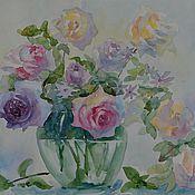 Картины и панно ручной работы. Ярмарка Мастеров - ручная работа Розы в стеклянной вазе. Handmade.