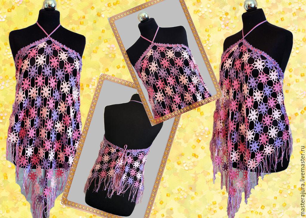 Beach summer top,crochet handmade hook flower mix.