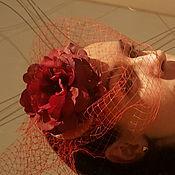 Украшения ручной работы. Ярмарка Мастеров - ручная работа Вуалетка с цветком на обруче. Handmade.
