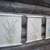 Картины и панно handmade. Livemaster - original item Panels: Happy moments of SUMMER!! Triptych Linen Painting. Handmade.