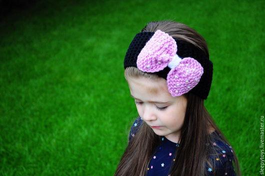 Повязки ручной работы. Ярмарка Мастеров - ручная работа. Купить Вязаная повязка бант на голову, Мини Маус, сиреневый. Handmade.