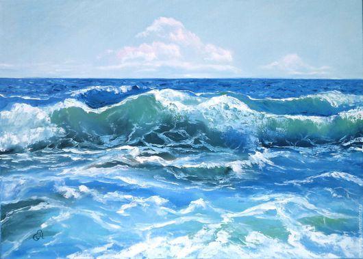 Картина маслом `Море` ручной работы. 50/70 см. Пейзаж. Картина для гостиной, кабинета.