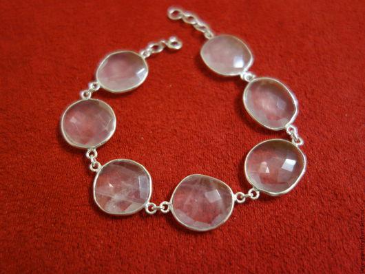 """Браслеты ручной работы. Ярмарка Мастеров - ручная работа. Купить """"Mizori"""" - нежный серебряный браслет с розовыми кварцами. Handmade."""