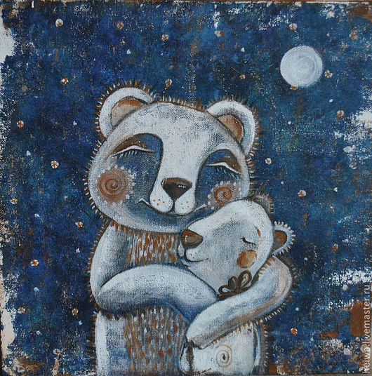Животные ручной работы. Ярмарка Мастеров - ручная работа. Купить Ложкой снег мешая (репродукция). Handmade. Тёмно-синий, мишки