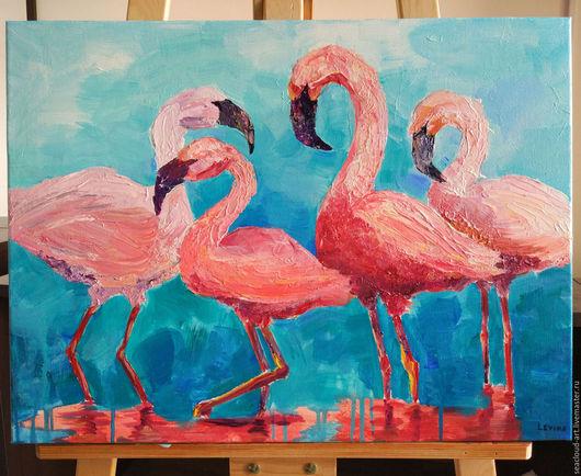 Животные ручной работы. Ярмарка Мастеров - ручная работа. Купить Фламинго. Картина акрил холст галерейная натяжка. Handmade. бирюзовый