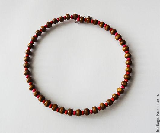 Колье, бусы ручной работы. Ярмарка Мастеров - ручная работа. Купить Ожерелье из деревянных бусин. Handmade. Шоколад, деревянные бусы