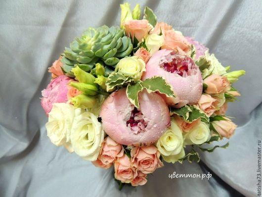 Свадебные цветы ручной работы. Ярмарка Мастеров - ручная работа. Купить Букет невесты. Handmade. Кремовый, свадебное оформление, пионы