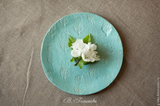 Декоративная посуда ручной работы. Ярмарка Мастеров - ручная работа. Купить большая тарелка ручной работы(с перьями). Handmade. Бирюзовый