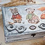 """Для дома и интерьера ручной работы. Ярмарка Мастеров - ручная работа Шкатулка для швеи """"Мои плюшевые друзья"""". Handmade."""