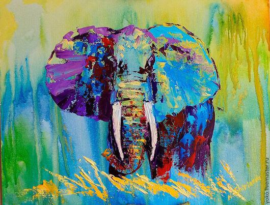 """Животные ручной работы. Ярмарка Мастеров - ручная работа. Купить Картина со слоном """"В Жаркой-Жаркой Африке"""". Handmade."""