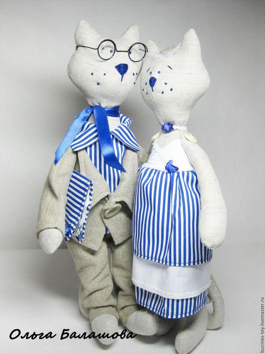 """Куклы Тильды ручной работы. Ярмарка Мастеров - ручная работа. Купить Котики"""" Робкий денди и маленькая леди"""". Handmade. Разноцветный"""