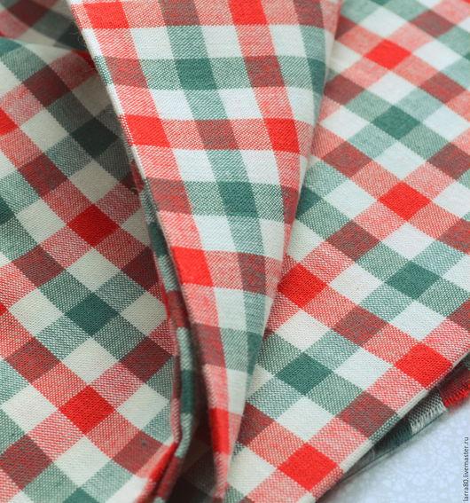 Шитье ручной работы. Ярмарка Мастеров - ручная работа. Купить Хлопок К20-47 красно-зеленая клетка, Корея. Handmade.