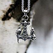 Украшения handmade. Livemaster - original item Pendant / Amulet Mjolner with Wolf and Voron Odin from jewelry steel. Handmade.