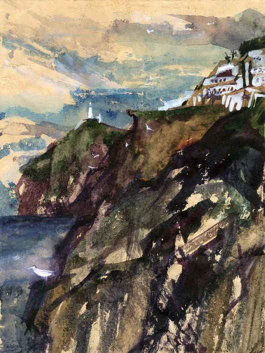 Анна Крюкова (impression-живопись) Картина акварель море Морской пейзаж Лето картина Акварельная картина в подарок