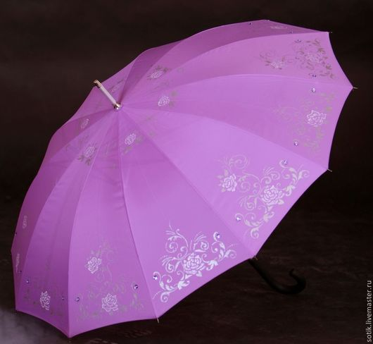 """Зонты ручной работы. Ярмарка Мастеров - ручная работа. Купить Зонт с ручной росписью и стразами """"Сиреневый шебби"""". Handmade. Зонт"""