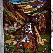 """Картины и панно ручной работы. Ярмарка Мастеров - ручная работа Витраж """"Рыцарь"""". Handmade."""
