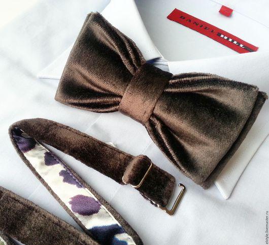 """Галстуки, бабочки ручной работы. Ярмарка Мастеров - ручная работа. Купить Галстук-бабочка """"Шоколадно-серый"""", винтажный бархат. Handmade."""