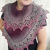 Аксессуары handmade. Livemaster - original item Shawl knitted woolen warm openwork cape scarf burgundy-plum. Handmade.