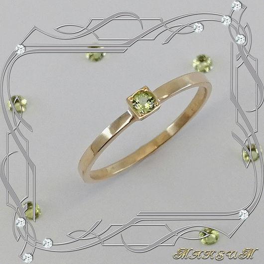 Ring 'Mini-week' gold 585 samples, chrysolite, Rings, St. Petersburg,  Фото №1