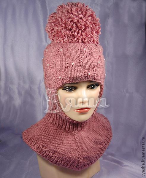 """Шапки и шарфы ручной работы. Ярмарка Мастеров - ручная работа. Купить Шапка-шлем зимняя """"Пиончик"""" вязаная, детская, для девочек. Handmade."""
