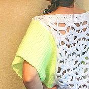 Одежда ручной работы. Ярмарка Мастеров - ручная работа Яркий вязаный пуловер с кружевной спинкой. Handmade.