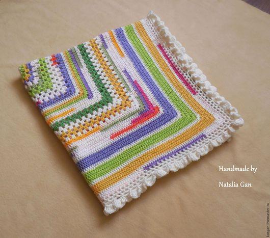Текстиль, ковры ручной работы. Ярмарка Мастеров - ручная работа. Купить Плед квадрат связаный крючком для девочки 80х80. Handmade.