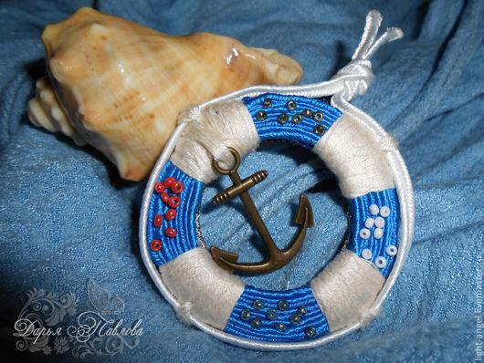"""Броши ручной работы. Ярмарка Мастеров - ручная работа. Купить Сутажная брошь """"Морячка"""". Handmade. Синий, на панаму, море"""