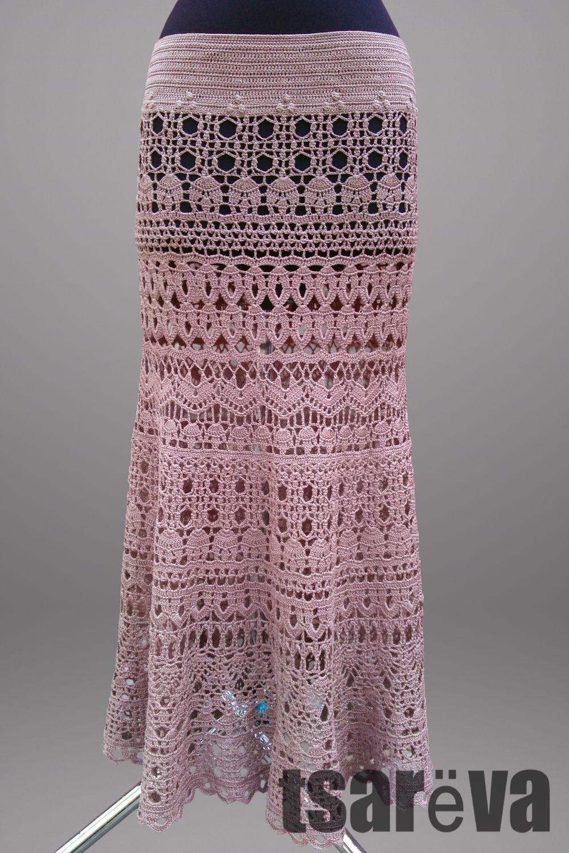 Crochet skirt Mademoiselle. Maxi handmade lace women boho beige skirt, Skirts, Odessa,  Фото №1