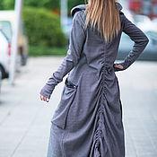 Одежда handmade. Livemaster - original item Black and White Plus size Long Cotton Dress. Handmade.