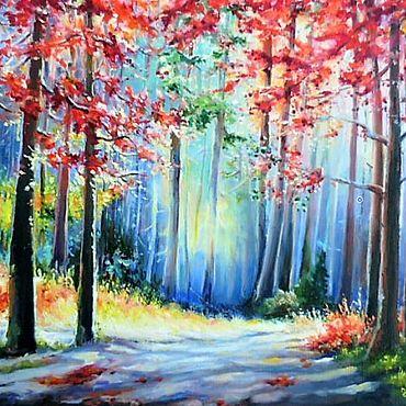 """Картины и панно ручной работы. Ярмарка Мастеров - ручная работа Картина маслом """"Осень начинает раздеваться"""". Handmade."""