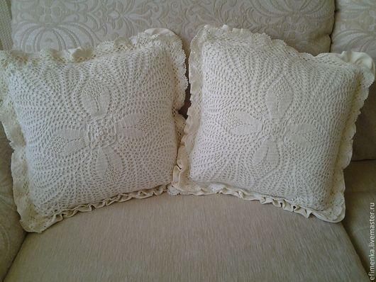 Текстиль, ковры ручной работы. Ярмарка Мастеров - ручная работа. Купить Подушки прованс квадратные. Handmade. Бежевый, текстиль для дома