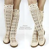 """Обувь ручной работы. Ярмарка Мастеров - ручная работа Сапоги вязаные """"Первая любовь"""" бежевые. Handmade."""