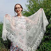 handmade. Livemaster - original item Shawls: Openwork wedding shawl, white mohair shawl. Handmade.