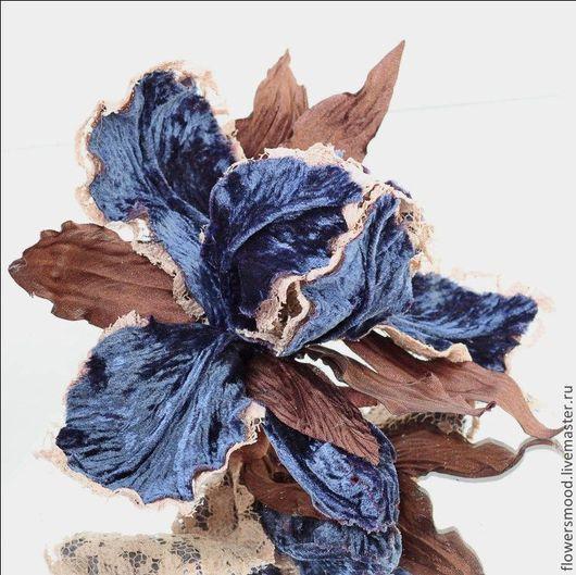 """Цветы ручной работы. Ярмарка Мастеров - ручная работа. Купить Ирис """"Глоток роскоши"""". Handmade. Тёмно-синий, цветы из ткани"""