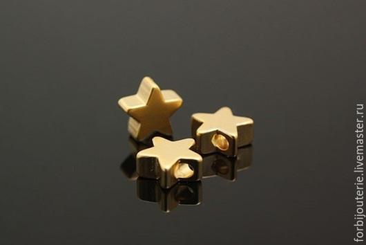 053 Бусина `Звездочка` из латуни с позолотой. Матовая. Качественное гипоаллергенное покрытие matt gold plated. Для украшений ручной работы. Южная Корея.