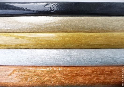Гофрированная бумага. Металлизированная. Разные цвета. Производство - Италия. № 809 черная № 806 светло-золотая № 801 золотая № 802 серебряная № 808 медная Палочка-выручалочка