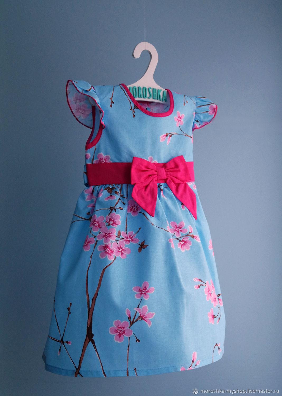 Платье для девочки голубое Сакура
