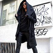 Пальто ручной работы. Ярмарка Мастеров - ручная работа Черное пальто Asymmetric Hoodded. Handmade.