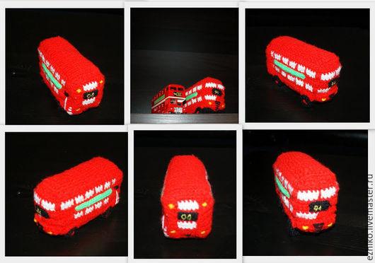 Автомобильные ручной работы. Ярмарка Мастеров - ручная работа. Купить Вязаный красный двухэтажный автобус Лондона. Handmade. Автобус, двухэтажный