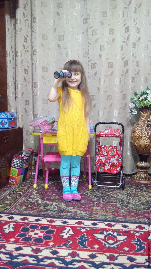 Одежда для девочек, ручной работы. Ярмарка Мастеров - ручная работа. Купить Связанное платье косами. Handmade. Желтый, платье