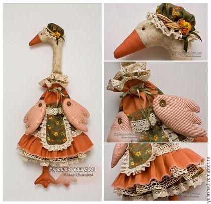 Гусь Тильда кукла пакетница ручной работы. Подарок на Пасху. Кармашки для кухни, хранение, уютная кухня. Текстиль для дома и кухни. Мешочек для хранения