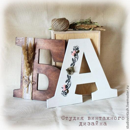 Интерьерные слова ручной работы. Ярмарка Мастеров - ручная работа. Купить Буквы 25 см с декорм (интерьерные). Handmade.